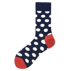 Fashion Casual Polka Dot Cotton Socks Men - Red White and Blue
