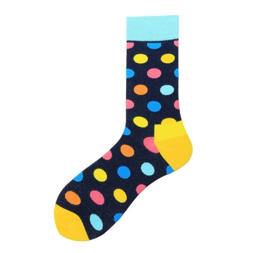 Fashion Casual Polka Dot Cotton Socks Men - Blues, Orange, Pink and Yellow