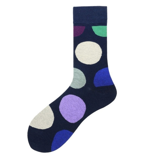 Fashion Casual Polka Dot Cotton Socks Men - Big Dots, Blue, Purple, Green and Grey