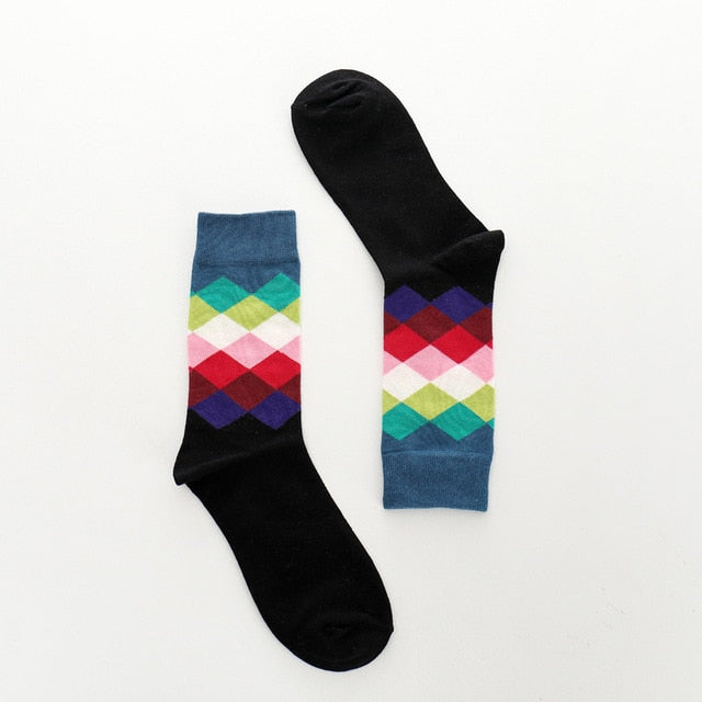 Diamond Color Patterned Socks - Black, Blue, Red, Pink and More