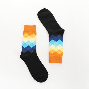 Diamond Color Patterned Socks - Black, Blue and Yellows