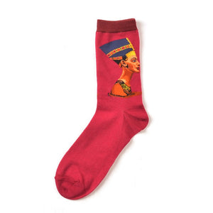 Art Socks - Fun Collection - Red Nefertiti