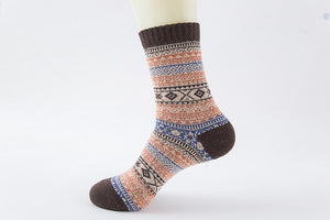 Winter Soft and Warm Wool Socks - Red and Brown