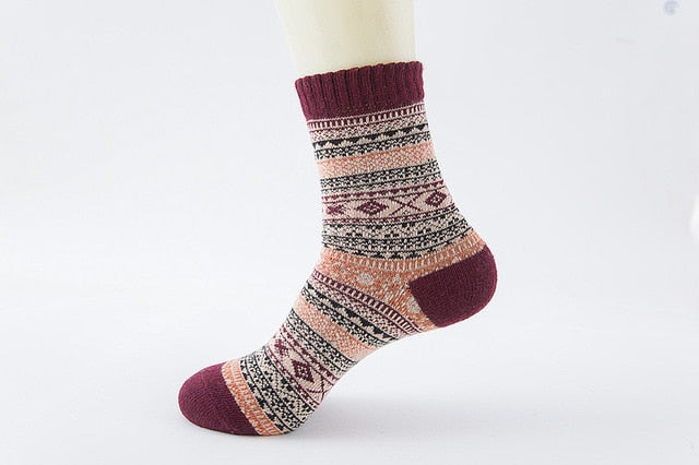 Winter Soft and Warm Wool Socks - Reds
