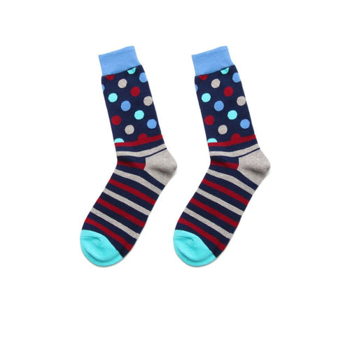 Fashion Casual Polka Dot Cotton Socks Men - Red, Grey and Blue Stripes, Polka Top