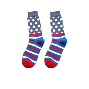 Fashion Casual Polka Dot Cotton Socks Men - Red, White and Blue Striped Bottom, Grey Top