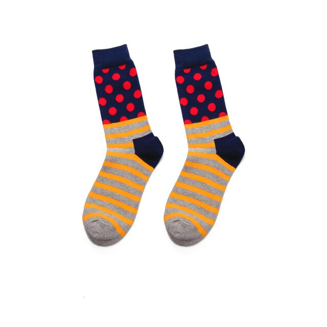 Fashion Casual Polka Dot Cotton Socks Men - Red, Blue, and Yellow