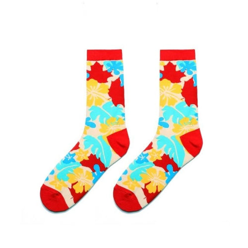 Colorful Dress Women & Men's Socks High Quality - Leaves