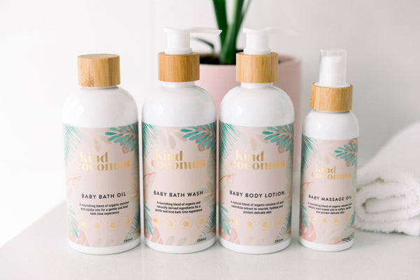 Natural Baby Products by Kind Coconuts. Natural Baby Bath Oil, Baby Bath Wash, Baby Body Lotion and Baby Massage Oil
