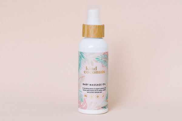 Natural Baby Massage Oil 125ml. Vegan Friendly with Organic Coconut Oil