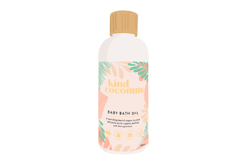 Illustration of Kind Coconuts natural blooming baby bath oil