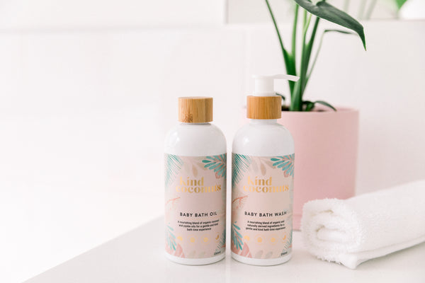 Natural Baby Bath Oil and Natural Baby Bath Wash enriched with organic coconut oil