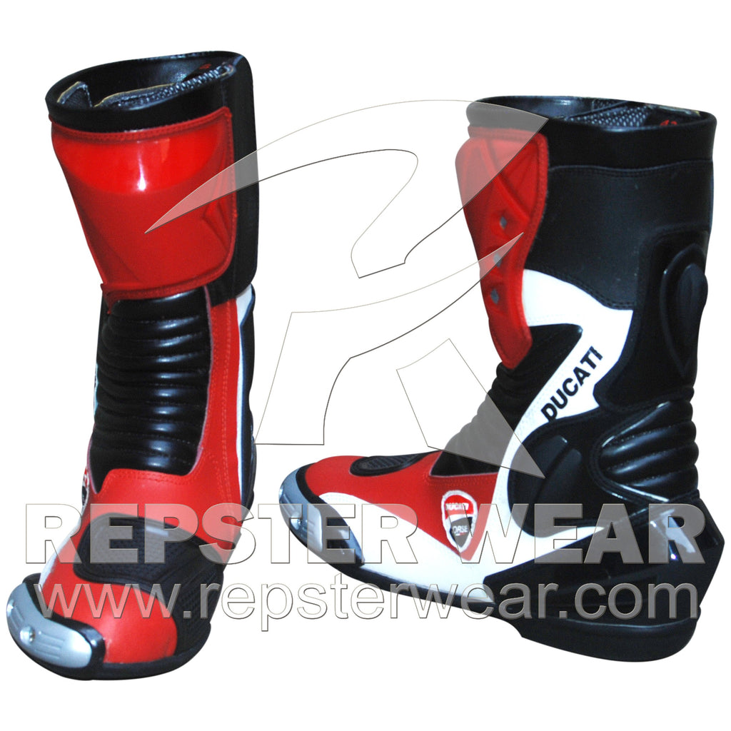 Ducati Corse Motorbike Racing Leather Boots
