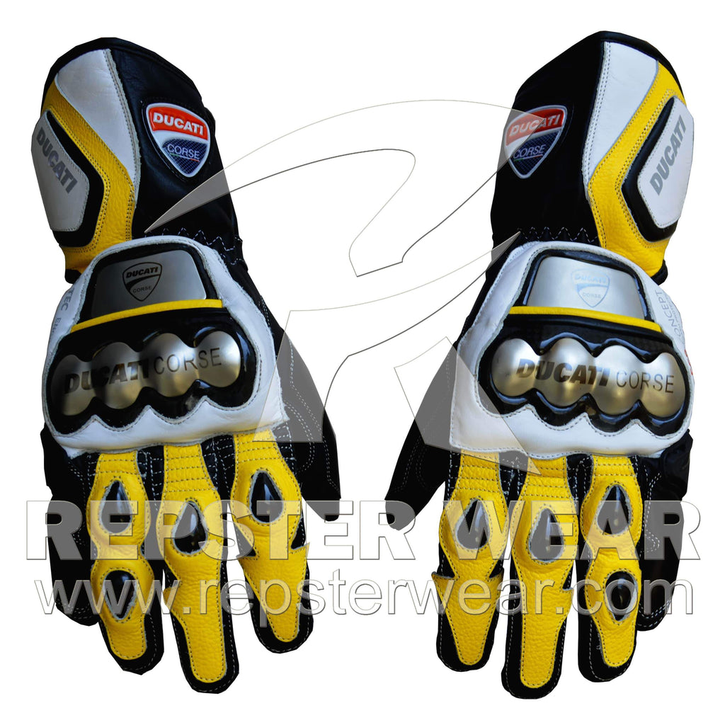 Ducati Corse T2 Motorbike Racing Leather Gloves