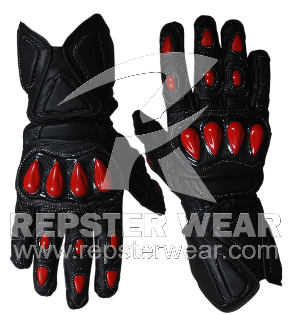 Red Blood Motorbike Racing Leather Gloves