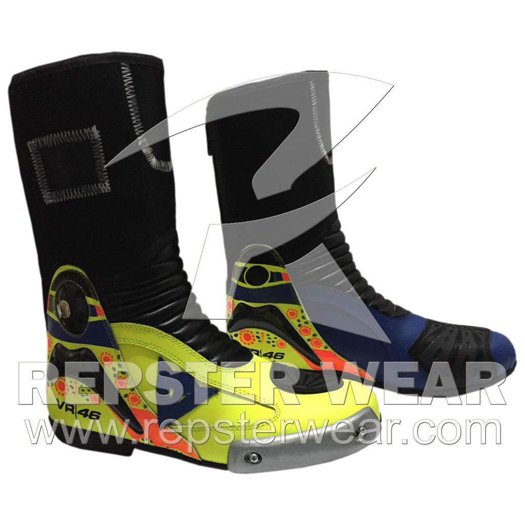 Valentino Rossi Motorbike Racing Leather Boots 2014