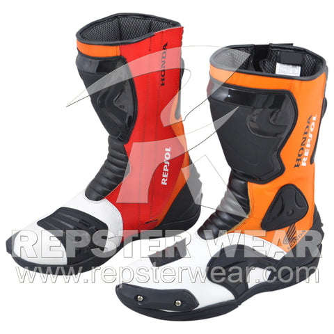 honda repsol motorbike racing leather boots 2013
