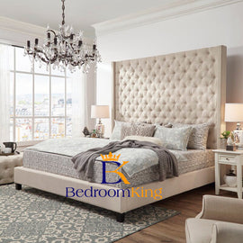 "Rosemary Platform Winged Bed Frame 70"" Headboard exclusive to Bedroomking"