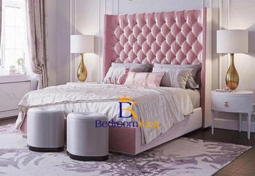 Princess Platform Wingback Bed Frame Available with ottoman or divan storage