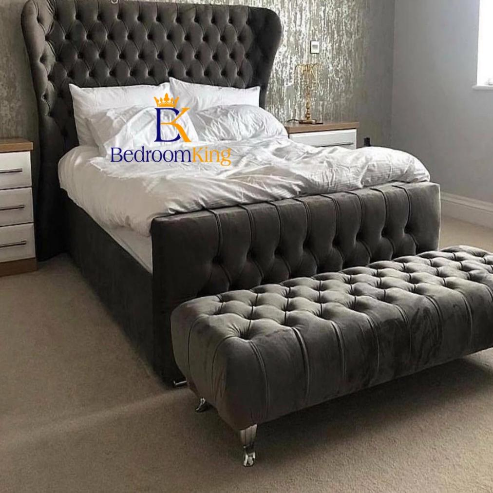 Oxford Deluxe Wingback Bed Frame Available with ottoman or divan storage