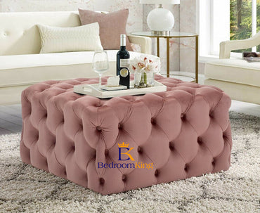 Mia Square Chesterfield Buttoned Pouffe Footstool