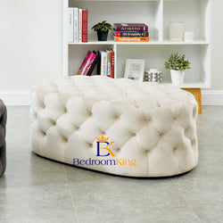 Harrington Oval Chesterfield Pouffe Footstool