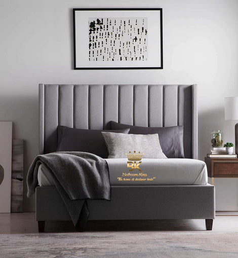 Duke Wingback Bedframe with Panelled Floor Standing Headboard