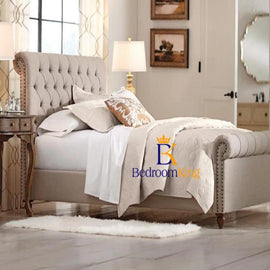 Eva Studded Scroll Sleigh Bed Frame