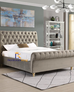 Ellie Chesterfield Scroll Sleigh Bed Frame