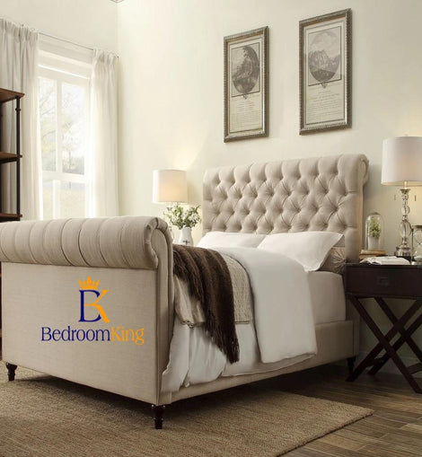 Maria Padded Scroll Sleigh Bed Frame