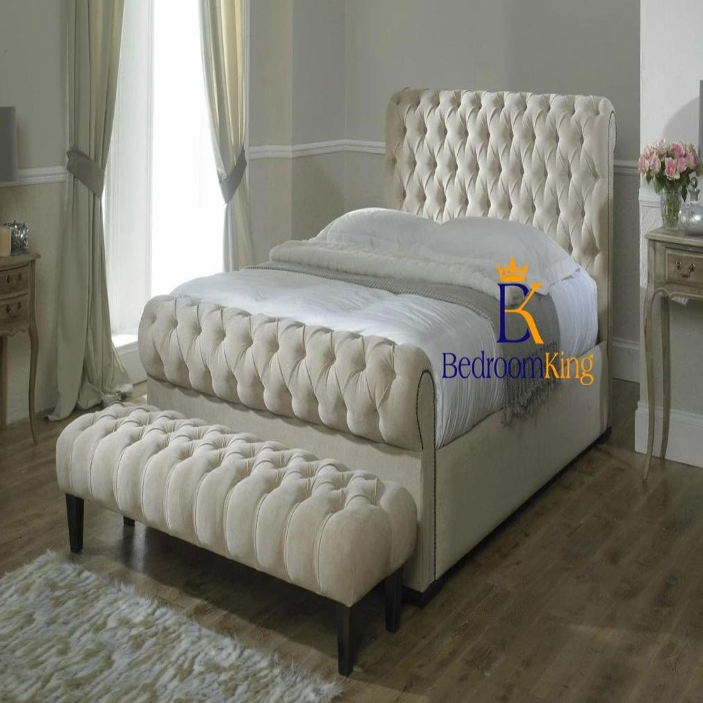Harvey Half Stud Scroll Sleigh Bed Frame