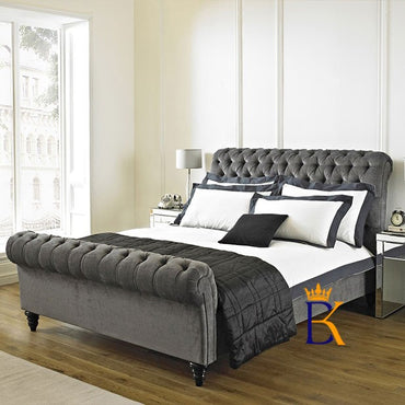 Maani Royal Scroll Sleigh Bed Frame