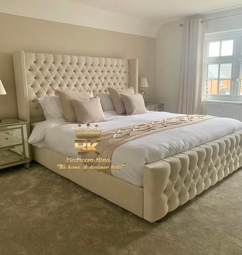 Langford Studded Wing Bed Frame Available with divan or ottoman storage