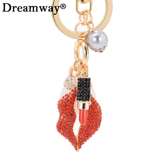 Simulated pearl bead keychain fashion red crystal mouth Lips Lipstick keyring for women best birthday gift girl bag charm ring