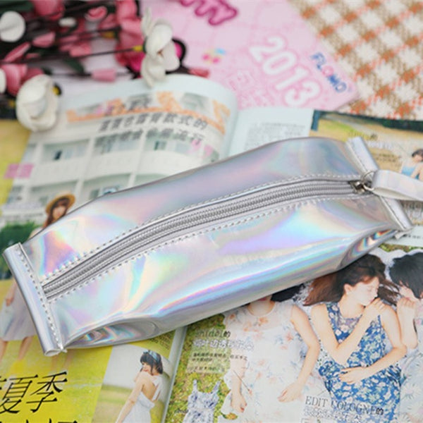 Metallic cosmetics pencil case