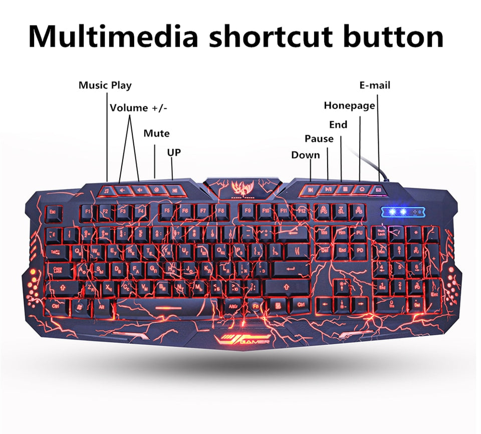 M200 Purple/Blue/Red LED Gaming Keyboard & Mouse