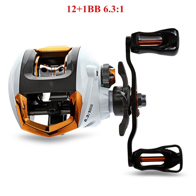 12 + 1 Bearings Waterproof Left / Right Hand Baitcasting