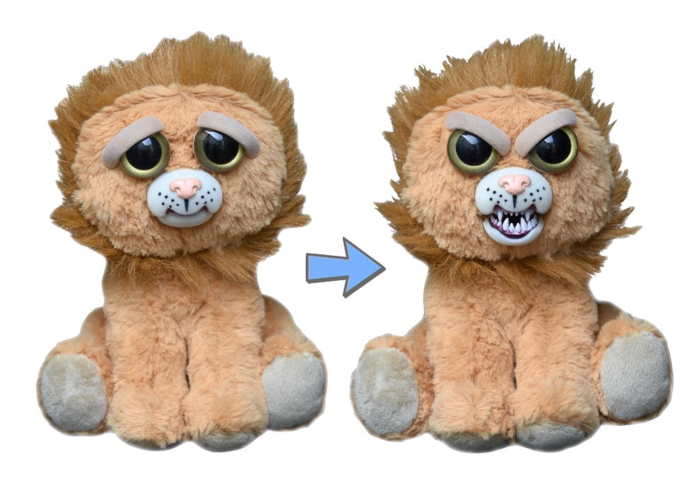 Plush stuffed lion with face changing from sweet to feisty