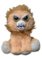 Plush stuffed lion with feisty face