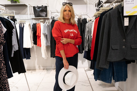 Charlotte Broadbent in Whistles SS20 red jumper
