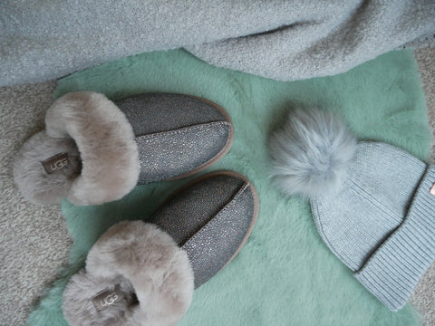 Cosy essentials - UGG Slippers and Barbour International hat and scarf
