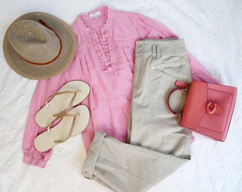 Hat, Powder; Blouse and trousers Reiss; Bag, Coach