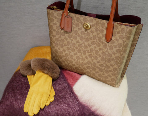 Monogram Tote Bag, Coach; Scarf and Gloves, Powder