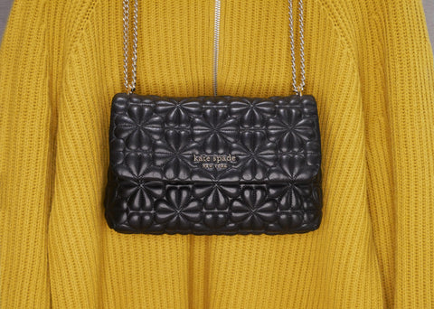 Quilted bag, Kate Spade; Sweater, Reiss