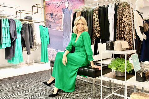 Charlotte Broadbent in Whistles SS20 green dress