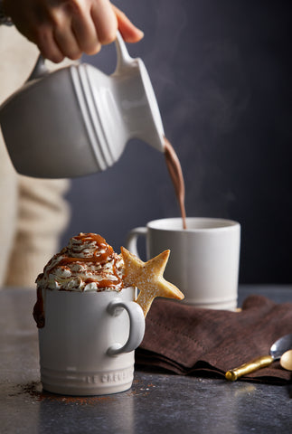 Pouring a Dulce de Leche Hot Chocolate