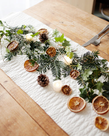 Christmas tablescape with Mary Berry runner