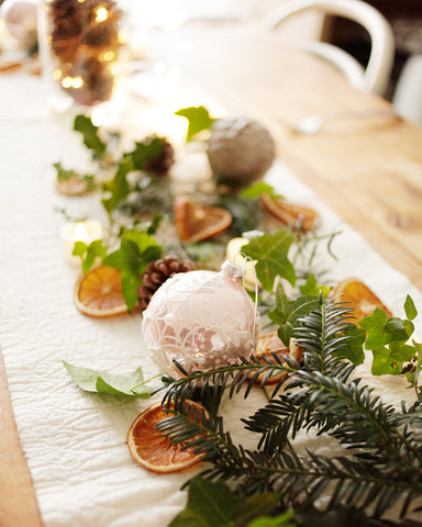 Christmas tree decorations in tablescape