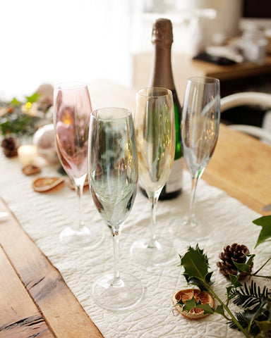 Christmas table scape with glassware by Sisley White