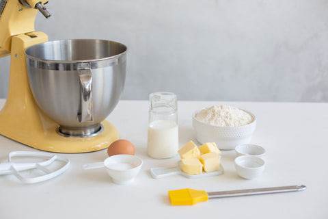 English Scone ingredients on table with KitchenAid stand mixer